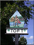TL3656 : Toft Village Sign (east side) by Keith Edkins
