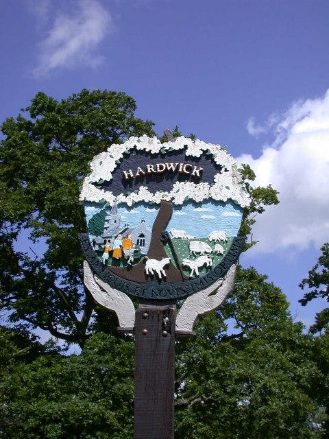 Hardwick Village Sign - detail