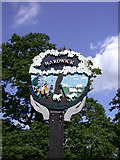 TL3758 : Hardwick Village Sign - detail by Keith Edkins