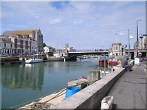 SY6778 : A quiet Weymouth Harbour & town bridge by Nick Mutton