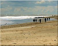 TA4115 : Walkers on the Beach at Kilnsea by Andy Beecroft