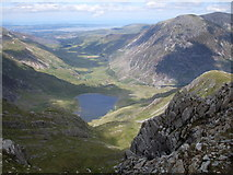 SH6459 : Looking  down on Llyn Idwal by Peter S