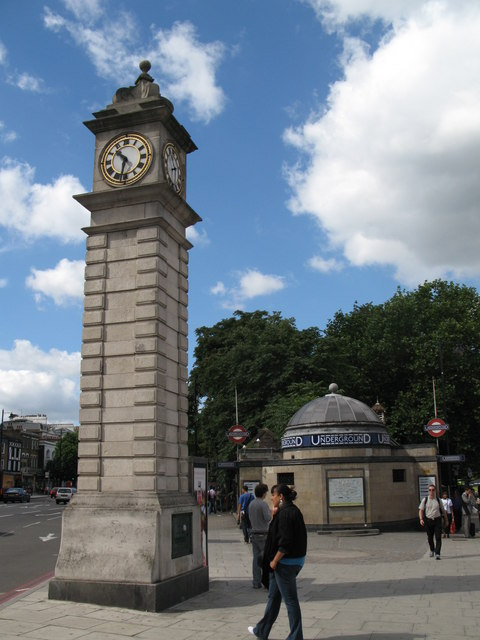The clock tower at Clapham Common tube station