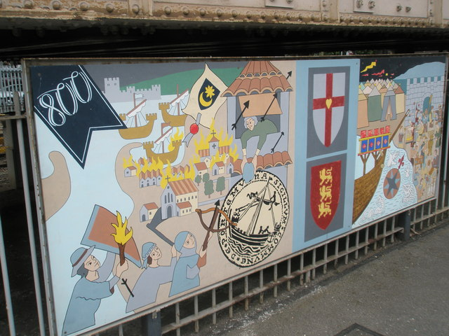 Panel 2 of the 1995 Mural at Portsmouth and Southsea Station