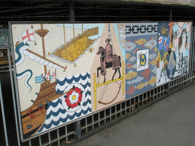 Panel 3 of the 1995 Mural at Portsmouth and Southsea Station