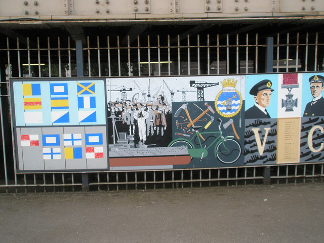 Panel 7 of the 1995 Mural at Portsmouth and Southsea Station
