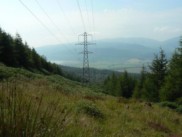 Puck's Glen to Gairletter walk, power lines