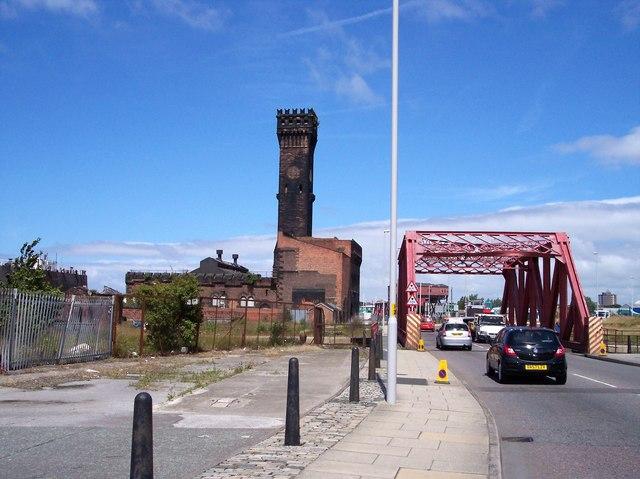 Bridge over entrance to Wallasey Dock entrance.