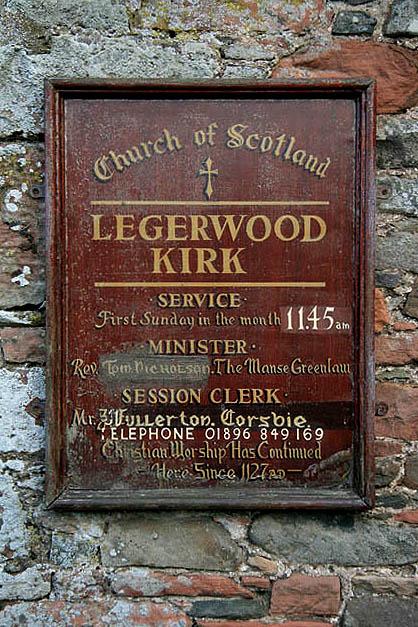 Legerwood Kirk signboard