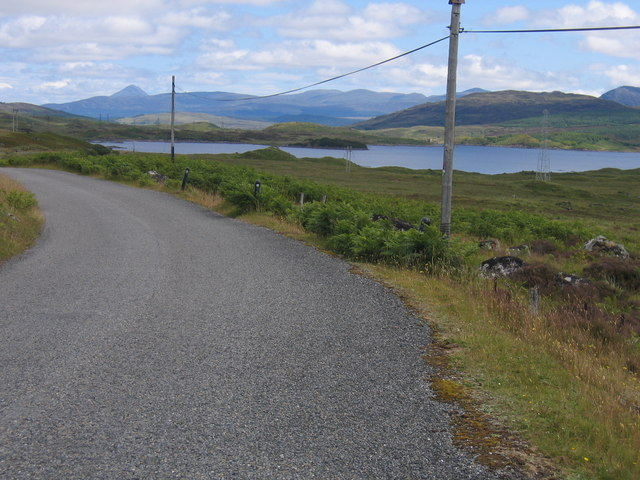 On the station road with Loch Eigheach in the middle ground