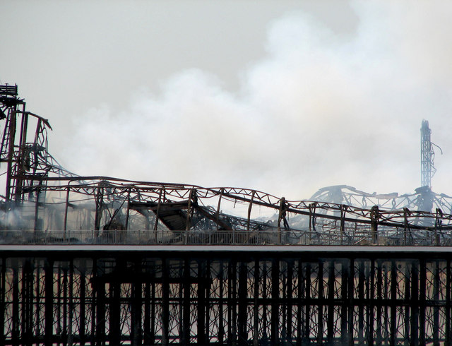 Smoky remains of the Grand Pier