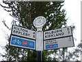 NY6924 : Route 68 road sign by michael ely
