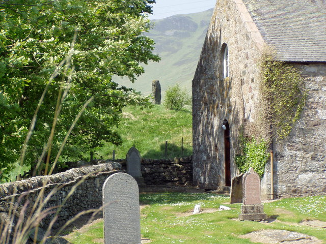 Spittal of Glenshee church and standing stone