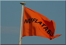 TQ7306 : Warning flag on Bexhill on Sea seafront. by David Jarrett