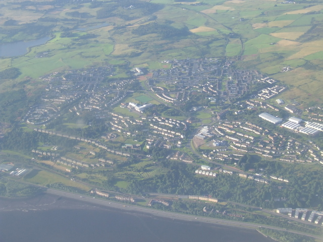 Eastern Port Glasgow from the air