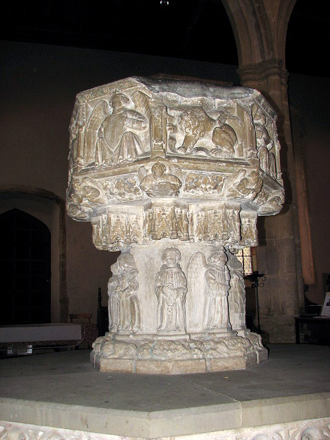 St Margaret's church - C15 baptismal font