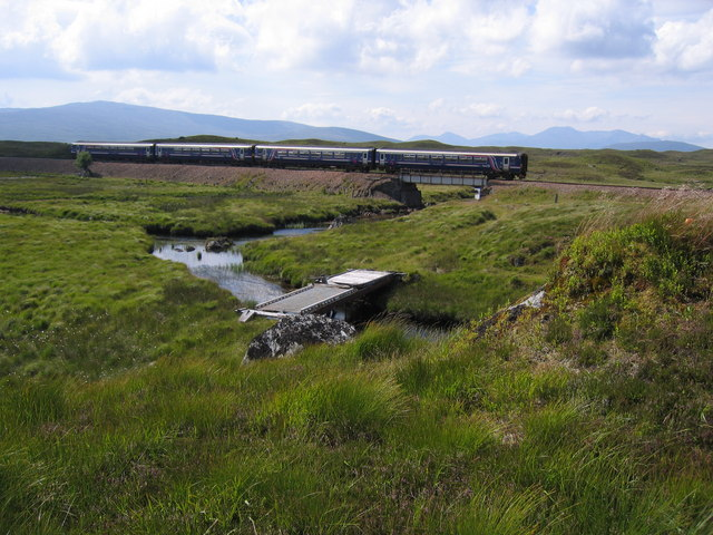 The Fort William - bound train crossing the Allt na Caim