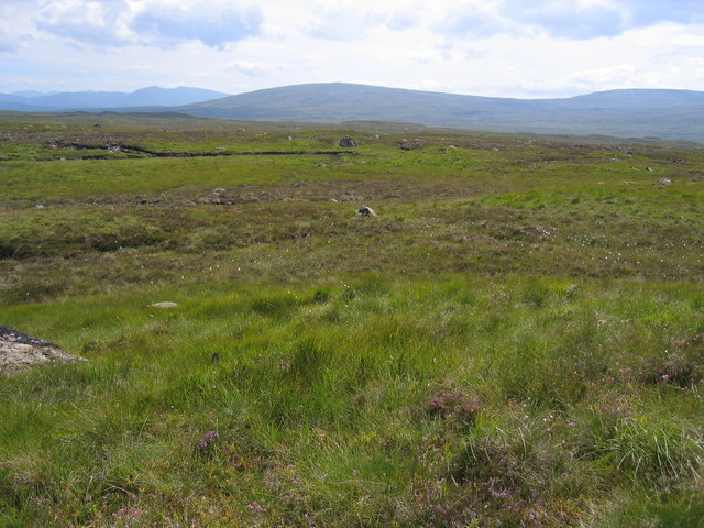 Looking across the featureless moor to the Black Corries