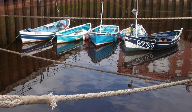 Small fishing boats in Whitby harbour
