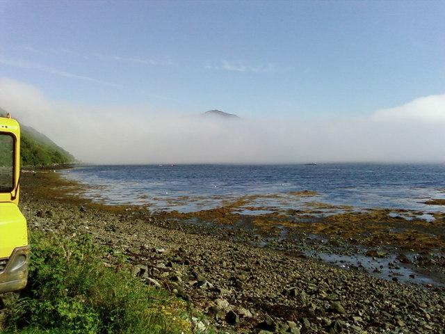Misty morning,Portree Bay