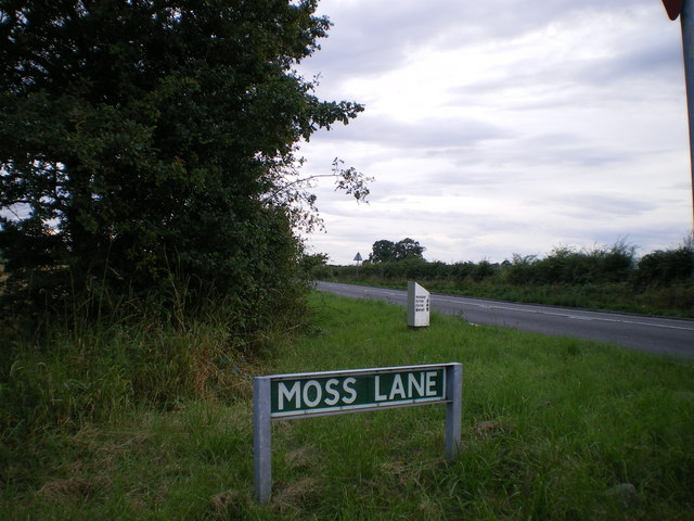 Moss Lane junction and the milestone