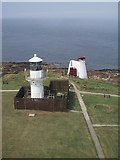NJ9967 : Modern Lighthouse and Old Foghorn from the Old Lighthouse by Sarah Charlesworth