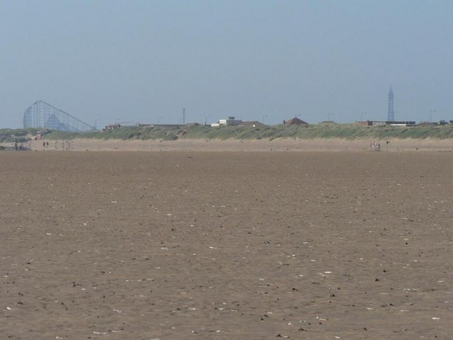 St Annes Beach And Hazy View Of Blackpool Tower