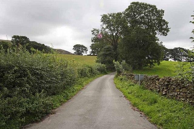 Winding lane from church