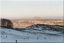 NT2466 : Snow on the 'Dry' Ski Slope at Hillend by Sarah Charlesworth