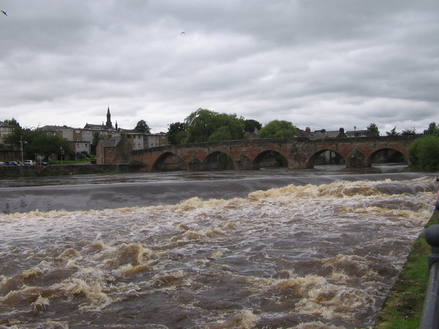 Old Bridge and Weir River Nith Dumfries