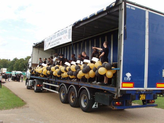 Steel band float moving to competition stage