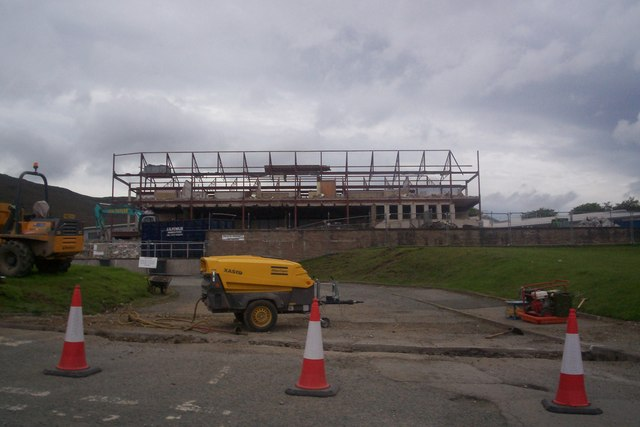 Old Portree High School under demolition