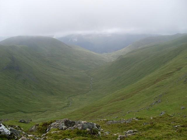 Clear view of Allt a' Chobhair glen