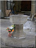 SX7176 : Font, St Pancras Church, Widecombe-in-the-Moor by Maigheach-gheal
