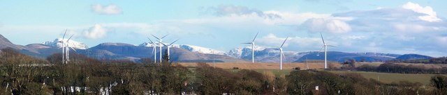 Pan view over the Derwent  of windfarm and mountains