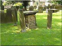 SK2176 : Eyam Church gravestone by Tony Bacon
