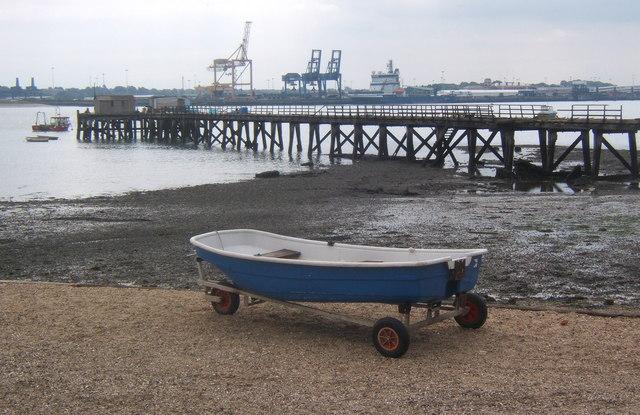 Shotley pier, the Stour Estuary and Harwich International Port