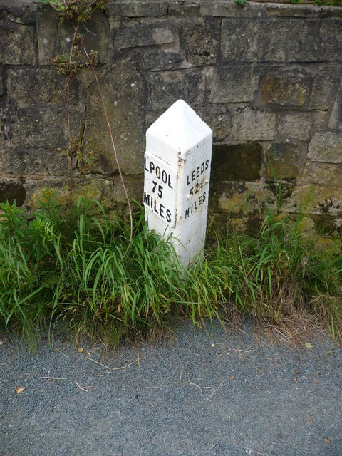 Milestone on the Leeds & Liverpool Canal