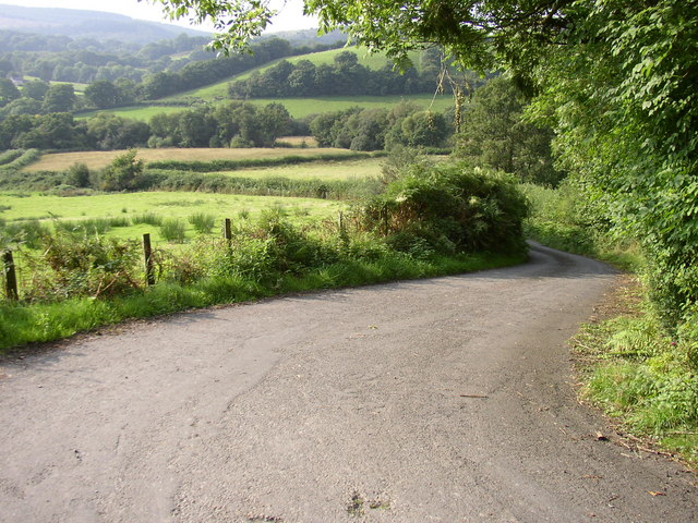 Road leading downhill,   by Rhiwrhwch Isaf