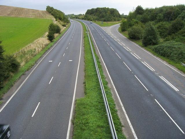 A505 passing Hollybush Hill