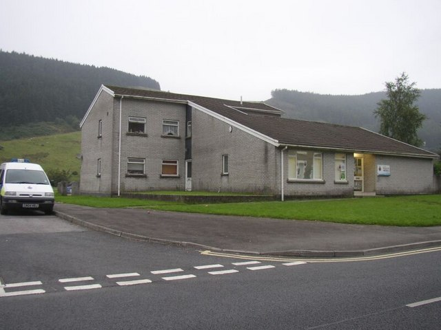 Police Station  and police van  - Blaengarw