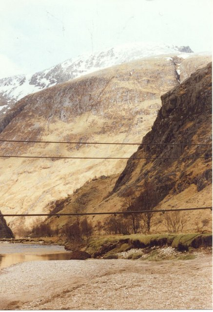 Steall Wire Bridge from the Side
