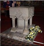 NY3704 : St Mary, Ambleside, Cumbria - Font by John Salmon