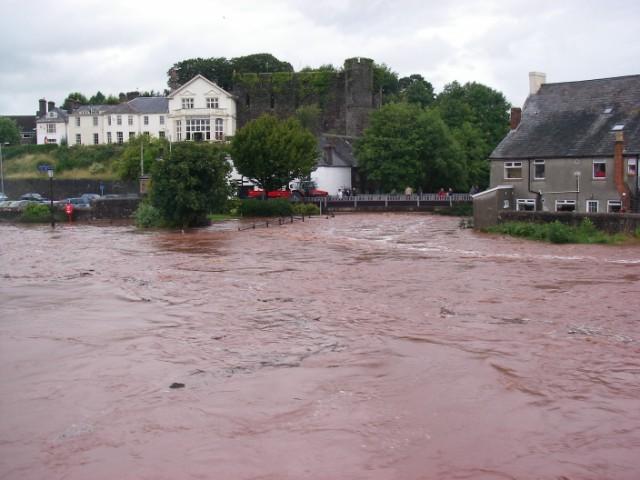 Usk and Honddu in flood