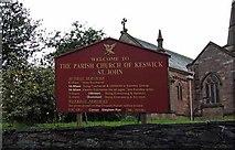 NY2623 : St John's church, Keswick, Cumbria - Notice board by John Salmon