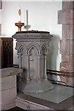 NY2623 : St John's church, Keswick, Cumbria - Font by John Salmon