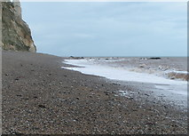 SY2187 : East end of Branscombe beach, Sherborne Rocks visible by Rob Purvis