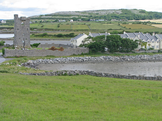 Muckinish Castle encroached upon by modern homes