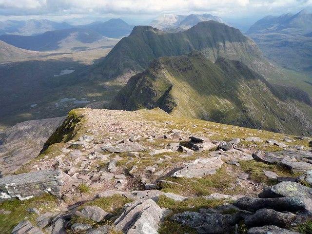 View along the east ridge of Sgurr Mor towards the Horns of Alligin