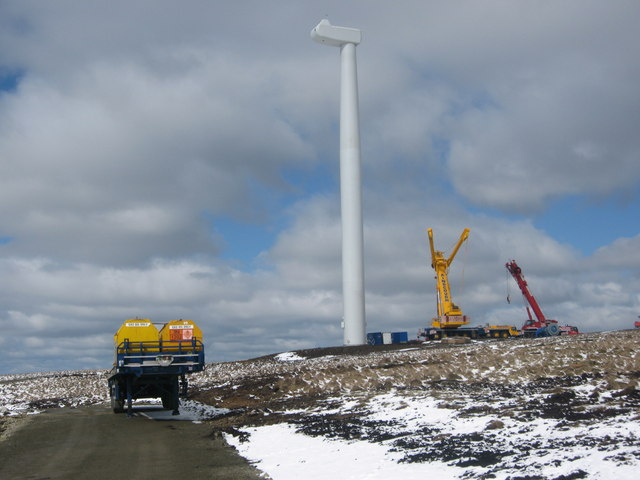 Wind Turbine No 3 under construction on Scout Moor